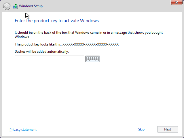 enter the product key to active windows