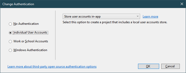 asp.net core change authentication