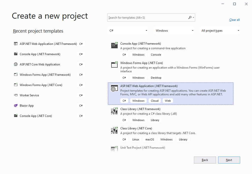 how to create asp.net web form in visual studio 2019