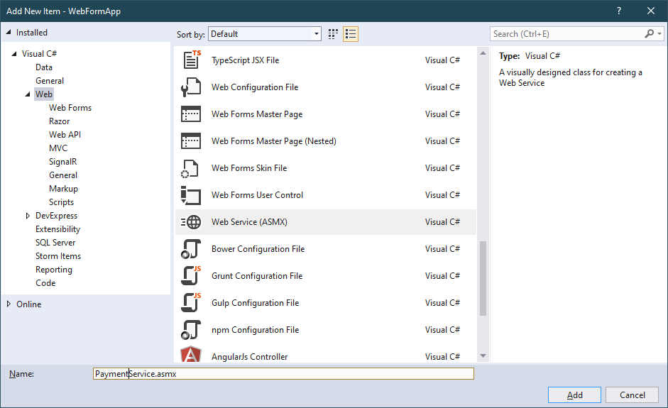 how to create a web service in c#
