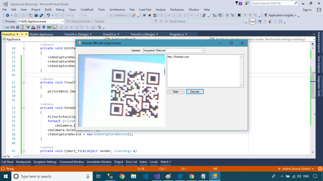 FoxLearn | Windows Forms: QR Code scanner using Camera in C#