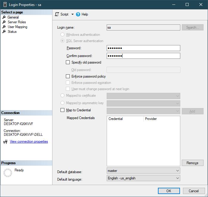 enable sql user