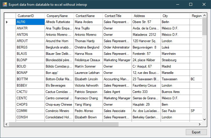 c# export datatable to excel without interop