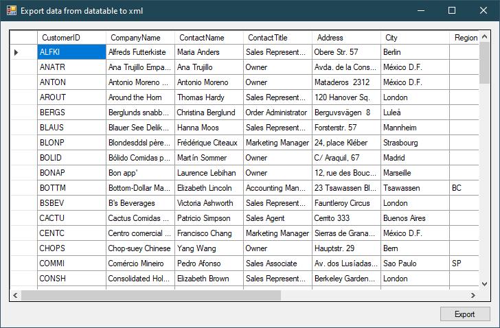 c# export datatable to xml
