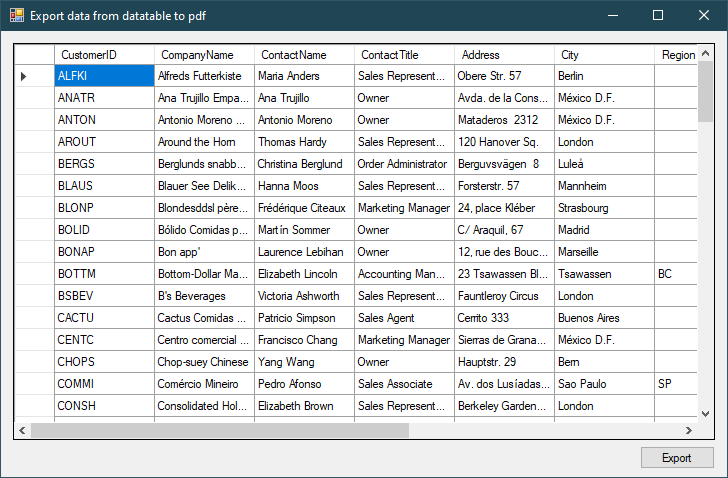 c# export datatable to pdf