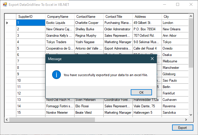 vb.net export data to excel file