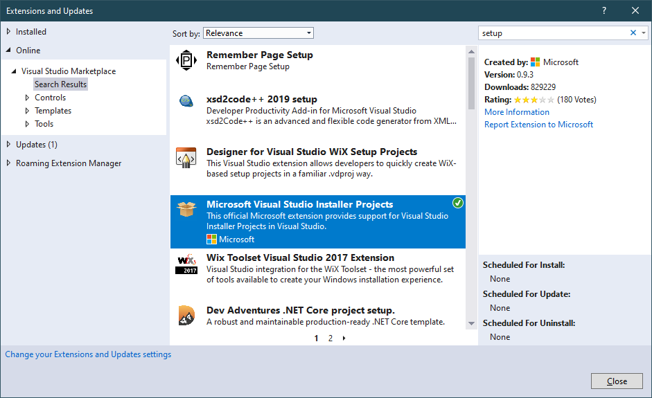 Microsoft Visual Studio Installer Projects