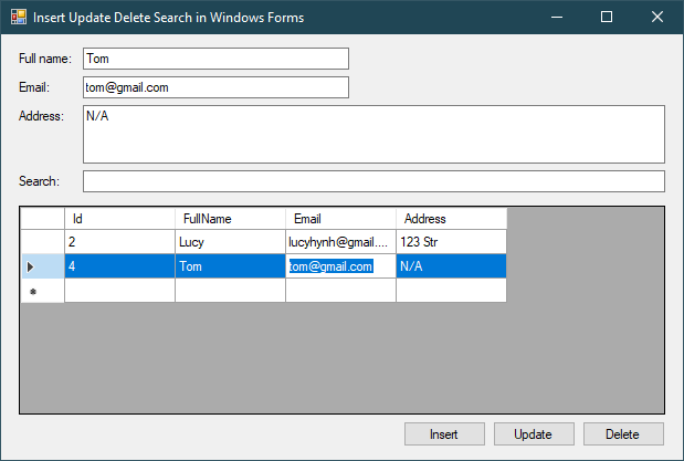 c# insert update delete search datagridview