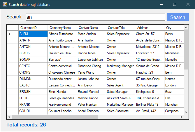 c# search data in database