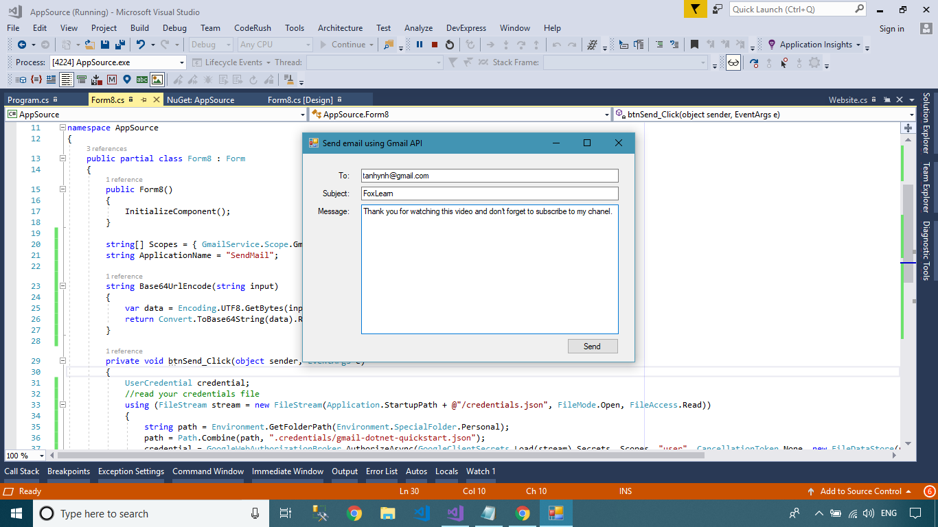 FoxLearn   Windows Forms: Send an email using gmail API in C#