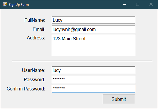 Sign Up Form With SQL Server in C#