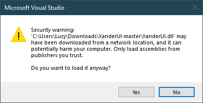 visual studio security warning